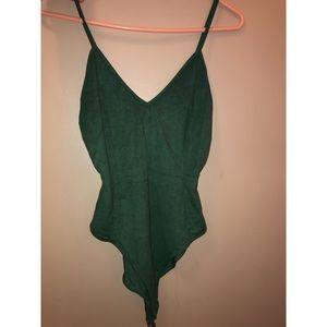 Suede green bodysuit